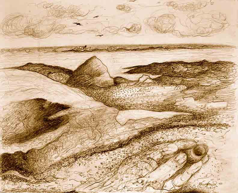 Christy Bergland Maine Landscape, Untitled Drawing Maine Rocky Coast