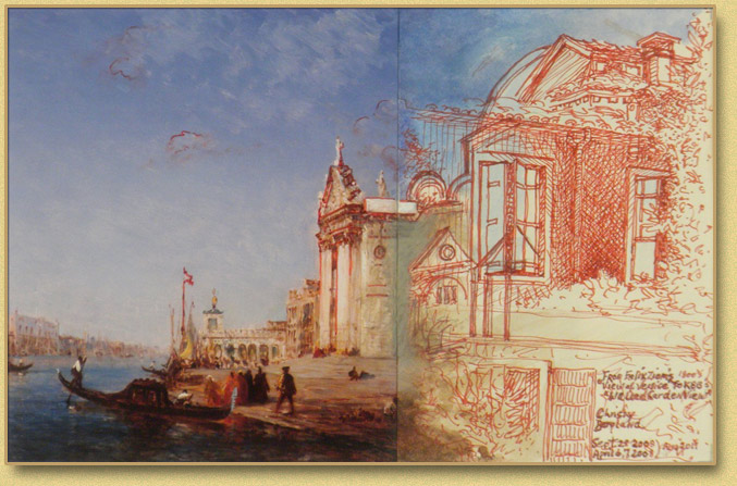 Felix Ziem's Grand Canal with a Walled Venetian Garden View