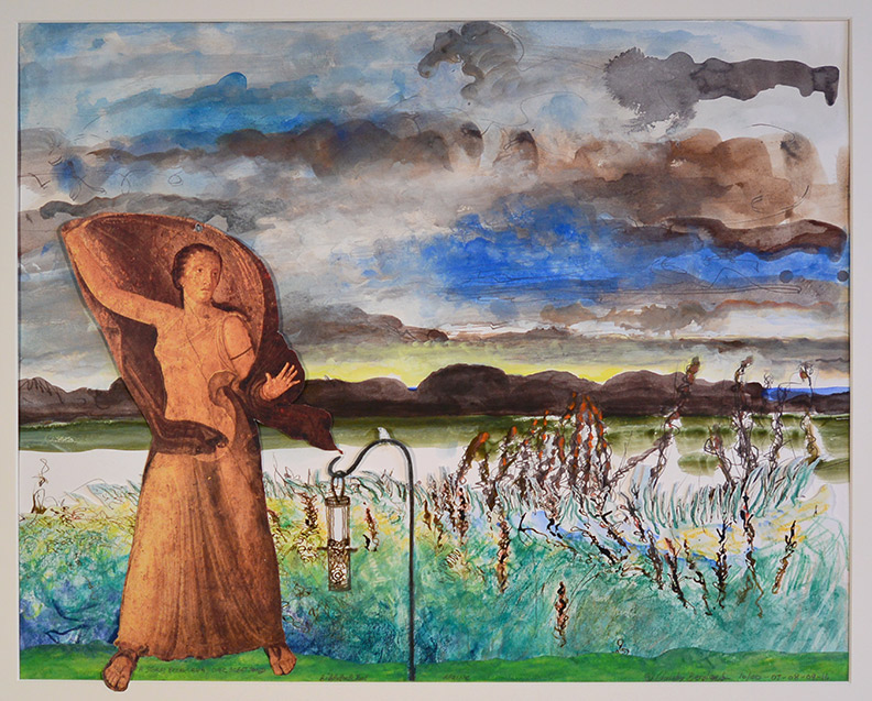 Christy Bergland collage, Storm Breaking Up Over  Great Pond