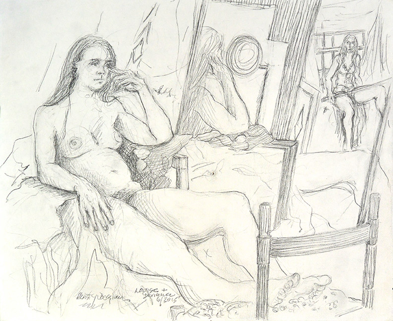 Christy Bergland figure drawings, Louise and Deviana