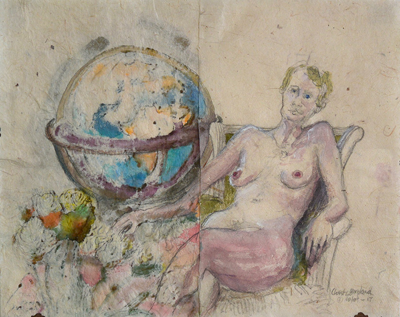 Christy Bergland figure drawings, Model and the Globe