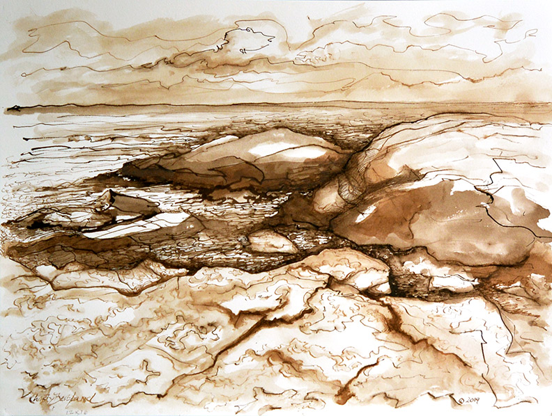 Christy Bergland sepia drawing, Rocks and Ocean 2019
