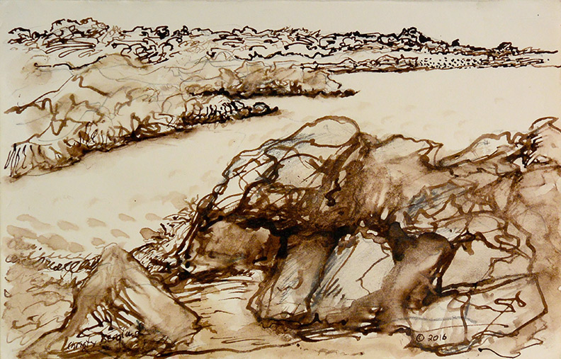 Christy Bergland Sepia Ink, Rocks to East Point