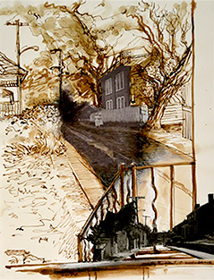 Christy Bergland sepia drawing, Clipper RD of Old Looking North/Looking South Now